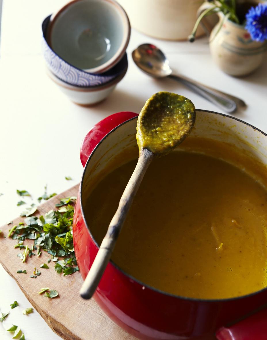 Warming sweet potato, coconut and turmeric soup